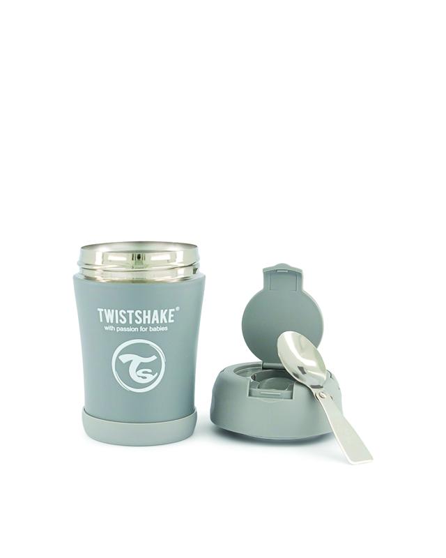 TWISTSHAKE Termoska na jedlo 350 ml pastelovo šedá,  V001619