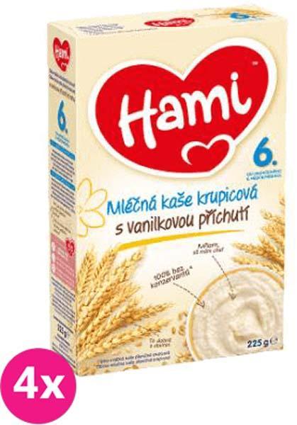 4x HAMI Krupicová s príchuťou vanilky (225 g) - mliečna kaša