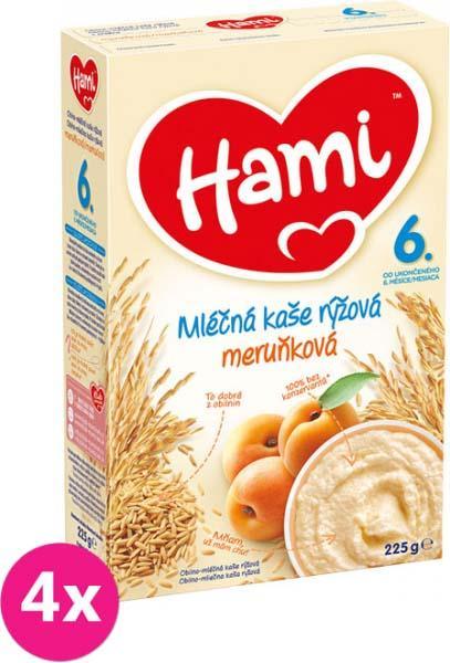 4x HAMI Ryžová s marhuľami (225 g) - mliečna kaša