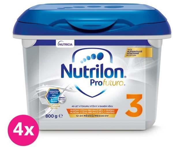 4 x NUTRILON 3 Profutura batoľacie mlieko 800 g, 12+