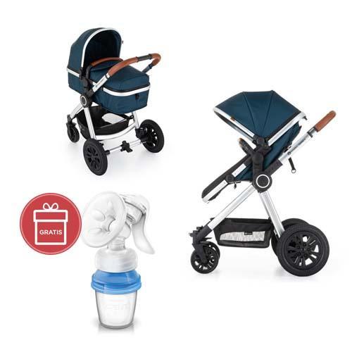 Kočík kombinovaný 2v1 Grand II Platinum Indigo Petite&Mars + Avent odsávačka mater.mlieka