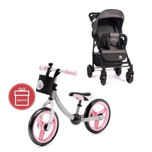 Kočík športový Easy Carbon Grey 2020 Petite&Mars + Odrážadlo 2way Next Pink/Gray