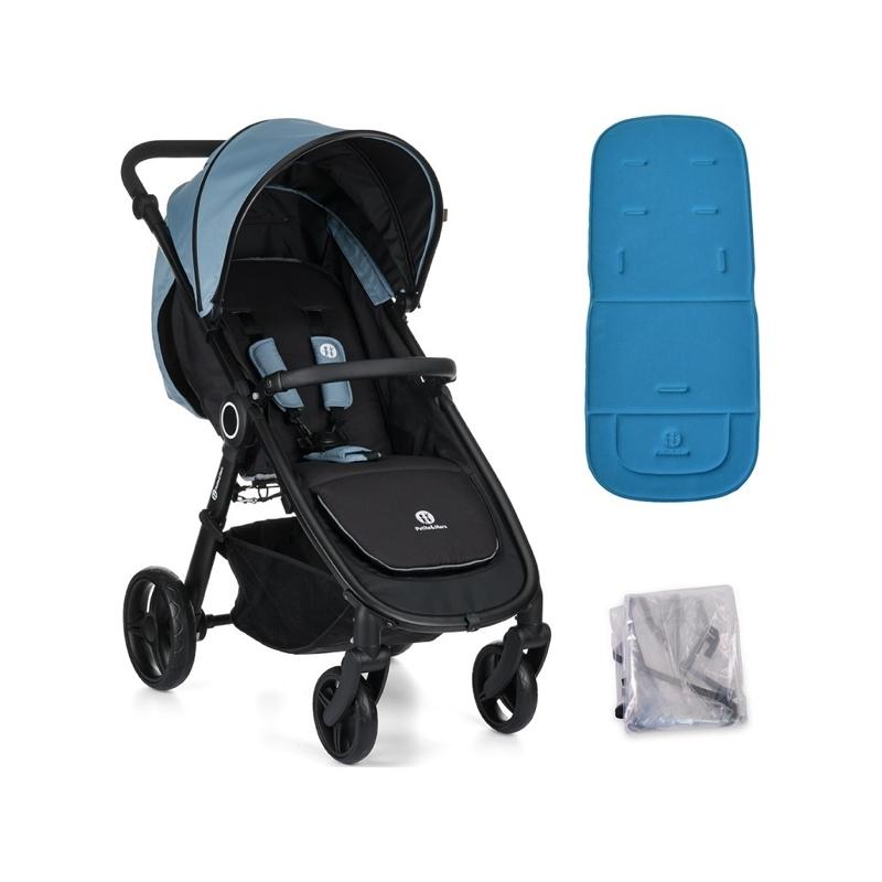 PETITE&MARS Kočík Street Steel Blue s vložkou a pláštenkou,  V000052