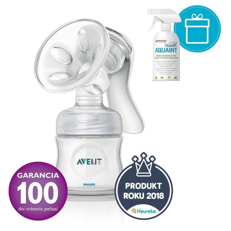 Philips AVENT Odsávačka mateřského mléka Natural se zásobníkem 125 ml + AQUAINT 500 ml