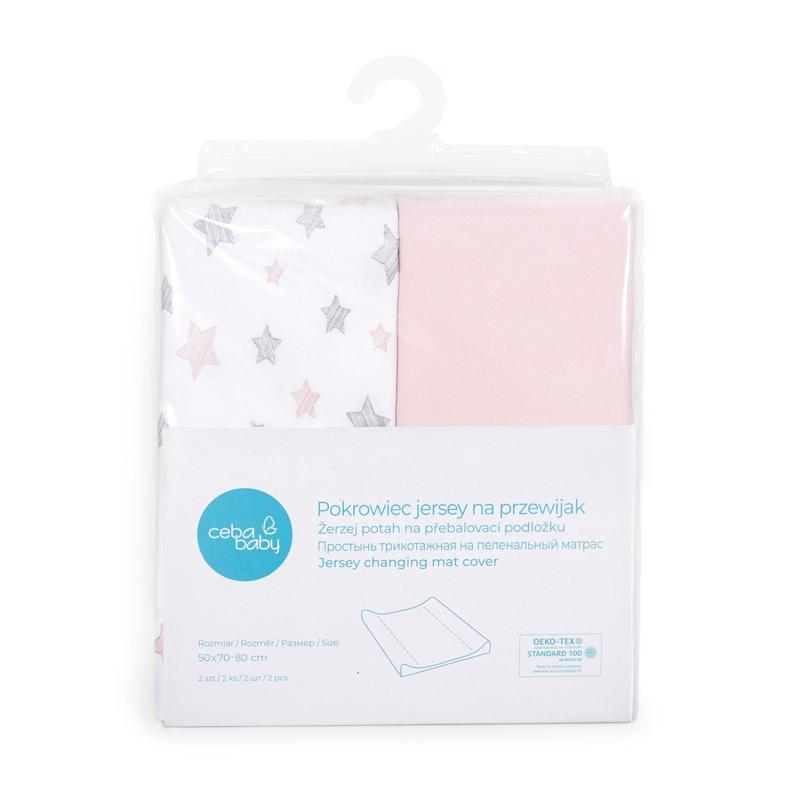 CEBA Poťah na prebaľovaciu podložku 50x 70-80 cm 2 ks Candy Pink+Pink Stars