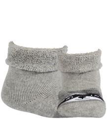 WOLA Ponožky dojčenské froté s uškami neutrál Aluminium 15-17