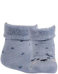 WOLA Ponožky dojčenské froté s uškami chlapec Blue 15-17,  V001626