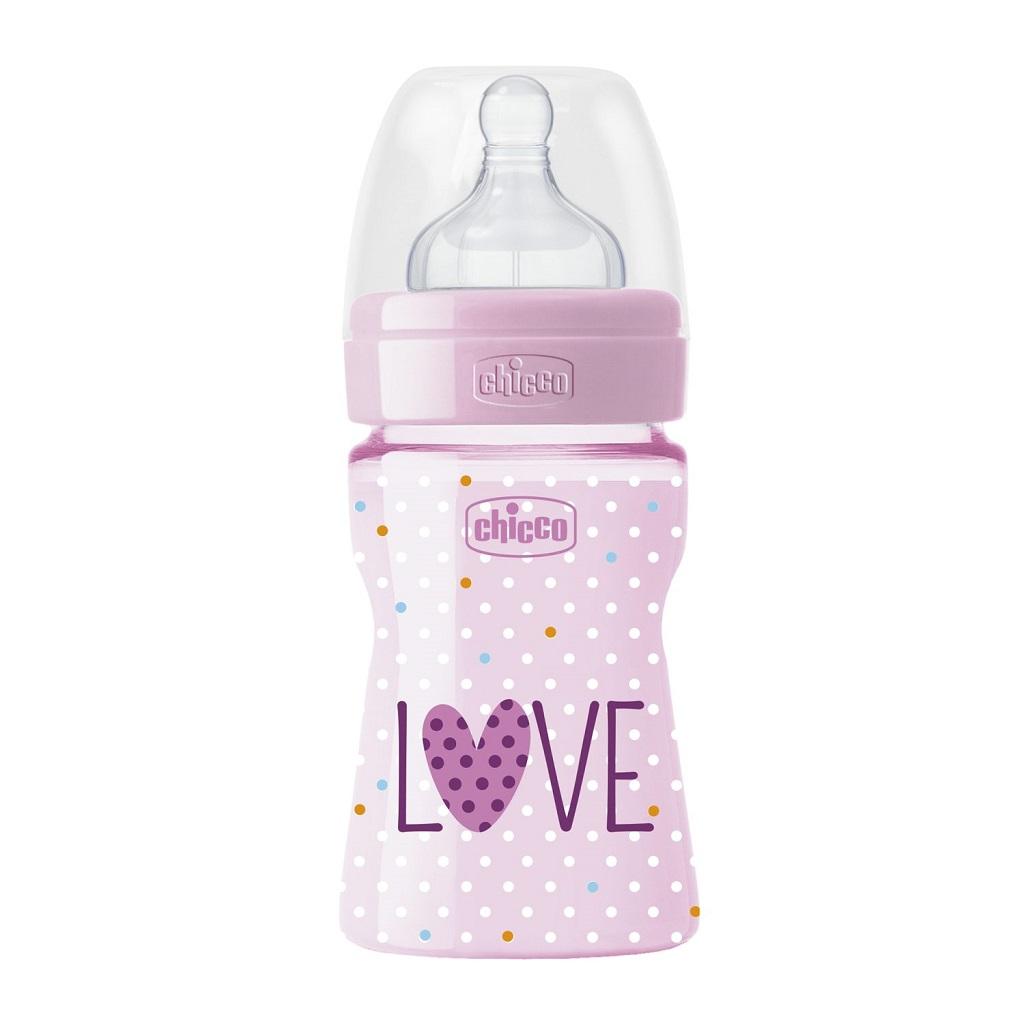 CHICCO Fľaša dojčenská WB LOVE silikón 150ml dievča/chlapec 0m+