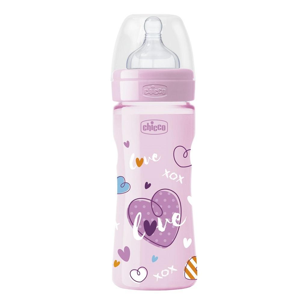 CHICCO Fľaša dojčenská WB LOVE silikón 250ml dievča/chlapec 2m+
