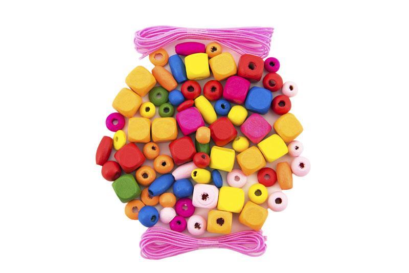 TEDDIES Korálky drevené farebné s gumičkami cca 300 ks v plastovej dóze