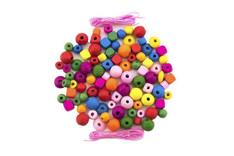 TEDDIES Korálky drevené farebné s gumičkami cca 800 ks vo veľkej plastovej dóze