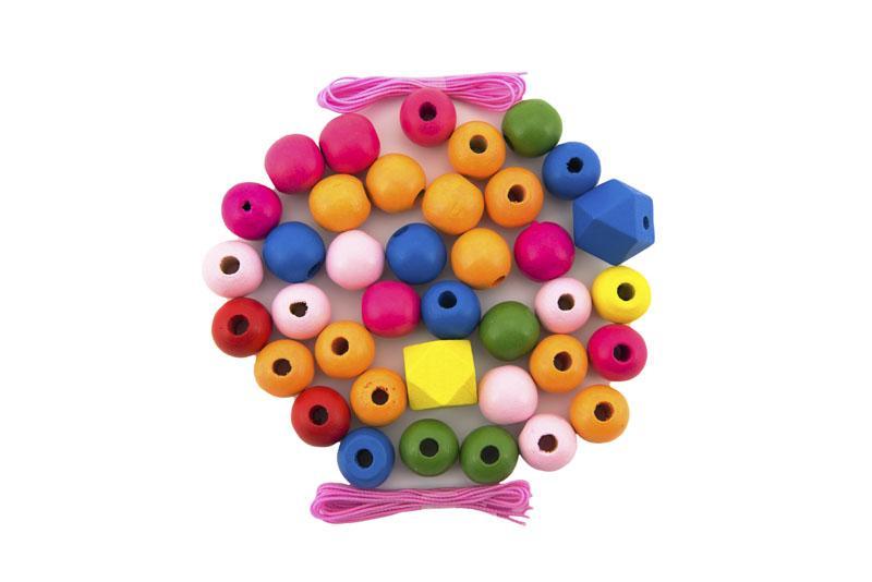 TEDDIES Korálky drevené farebné MAXI s gumičkami 106 ks v plastovej dóze
