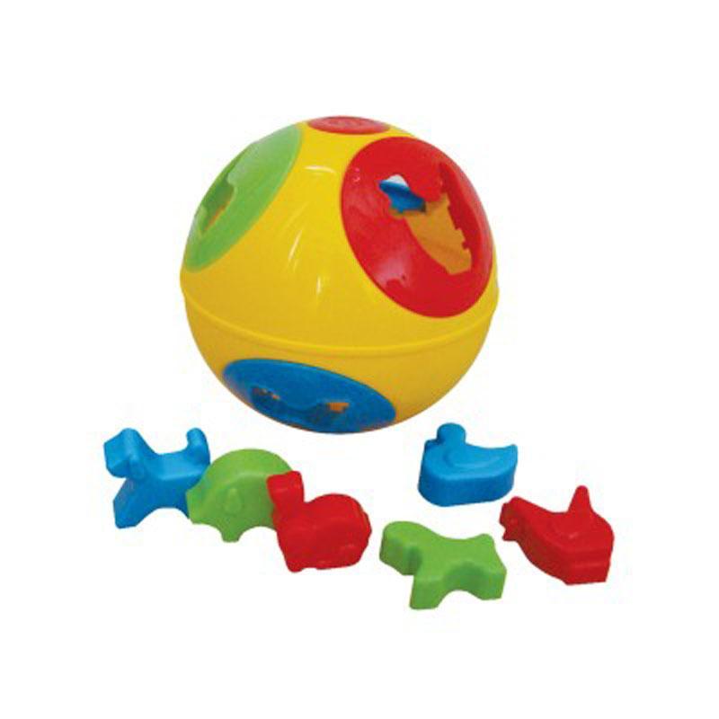 TEDDIES Vkladačka lopta plast priemer 13 cm 2 farby 12 m +