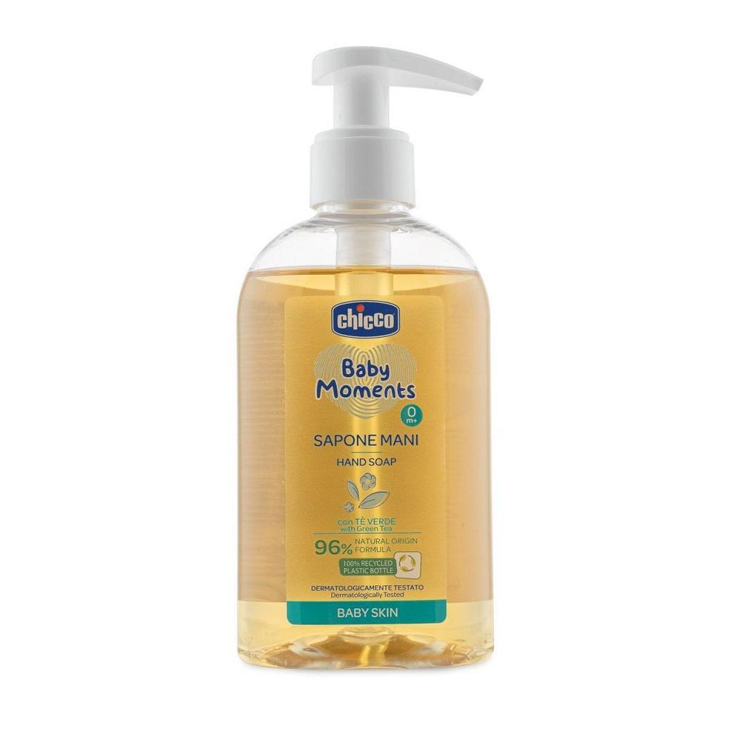 CHICCO Mydlo na ruky tekuté so zeleným čajom Baby Moments 96 % prírodných zložiek 250 ml