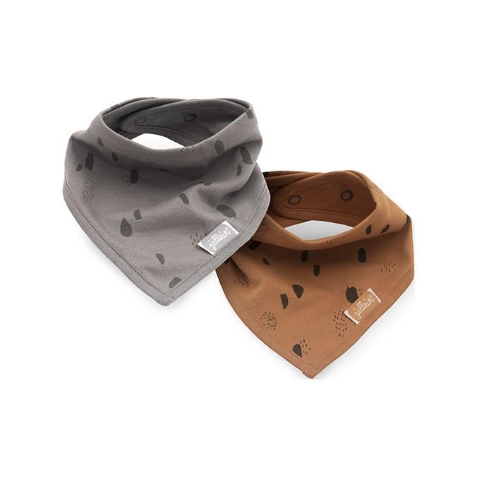 JOLLEIN Podbradník bandana bib Spot storm grey / caramel 2 ks