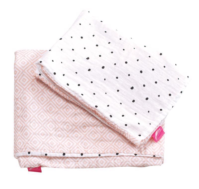 MOTHERHOOD Obliečky bavlnené mušelínové do postieľky Pre-Washed Pink Squares 2-dielne