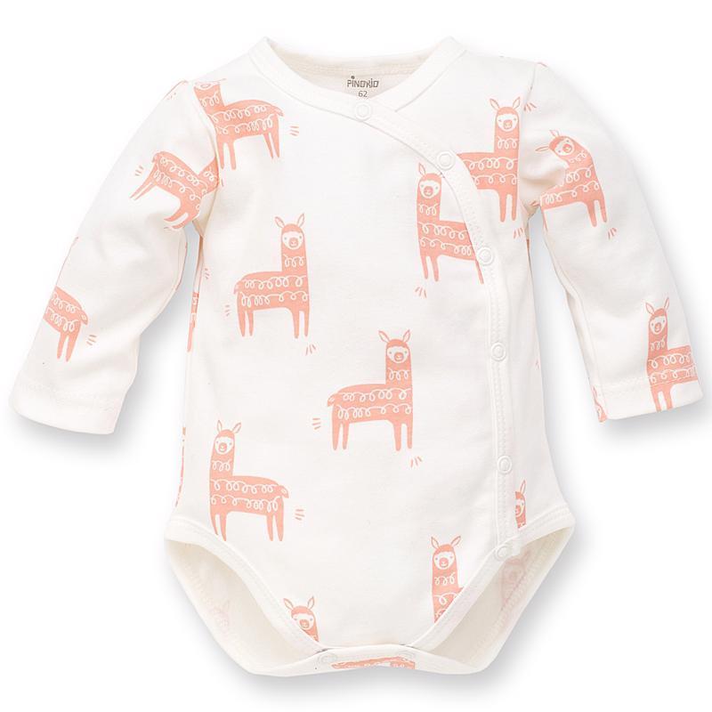PINOKIO Body zavinovacie dlhý rukáv Happy Llama veľ. 56 écru, vzor