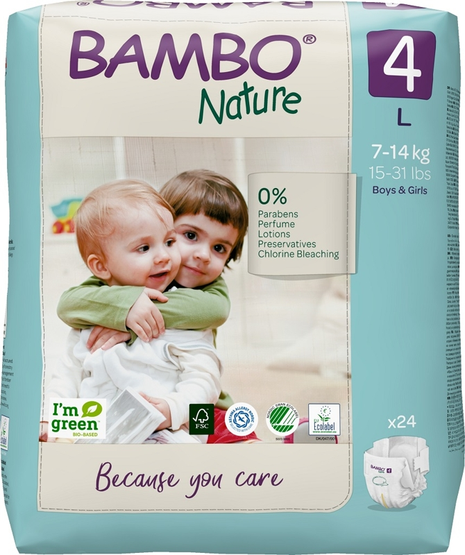 BAMBO Nature Plienky jednorázové 4, 24 ks, pre 7-14 kg