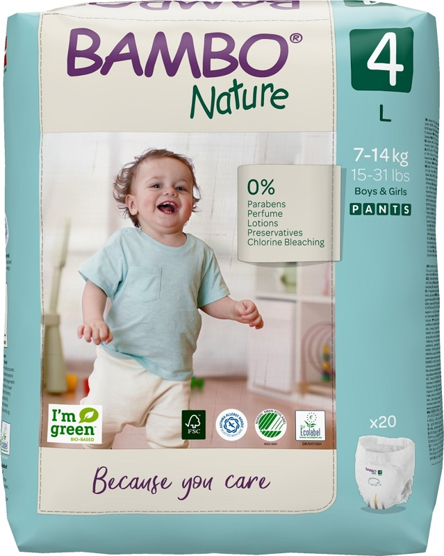 BAMBO Nature Nohavičky plienkové jednorázové Pants 4, 20 ks, pre 7-14 kg