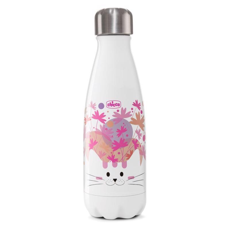 CHICCO Fľaša nerezová termo Chicco Drinky Mačička 350 ml