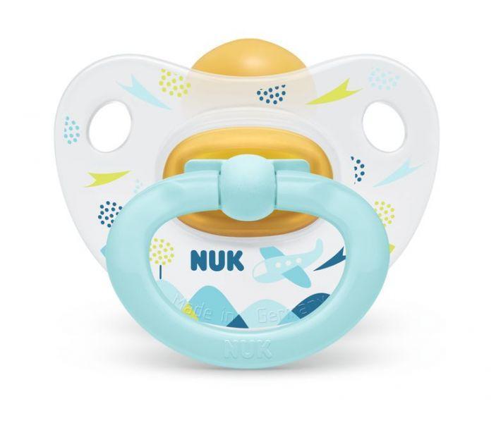 NUK Cumlík Happy kids, latex, V2 (6-18 m.) + box Modré lietadlo
