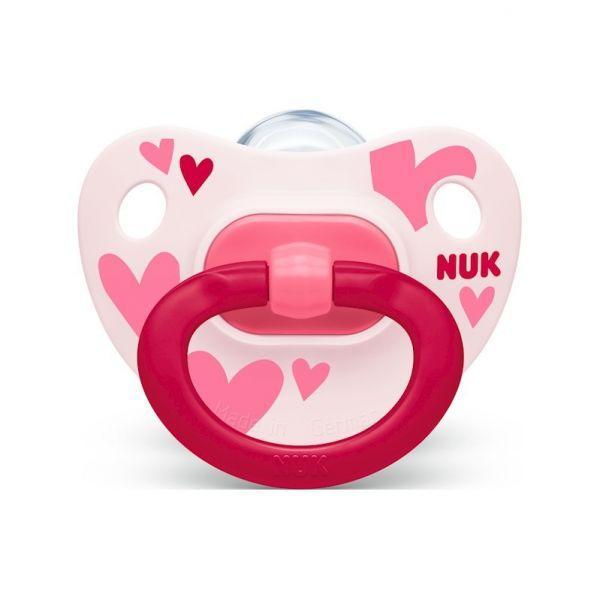 NUK Cumlík Happy days, silikón, V2 (6-18 m.) + box ružový