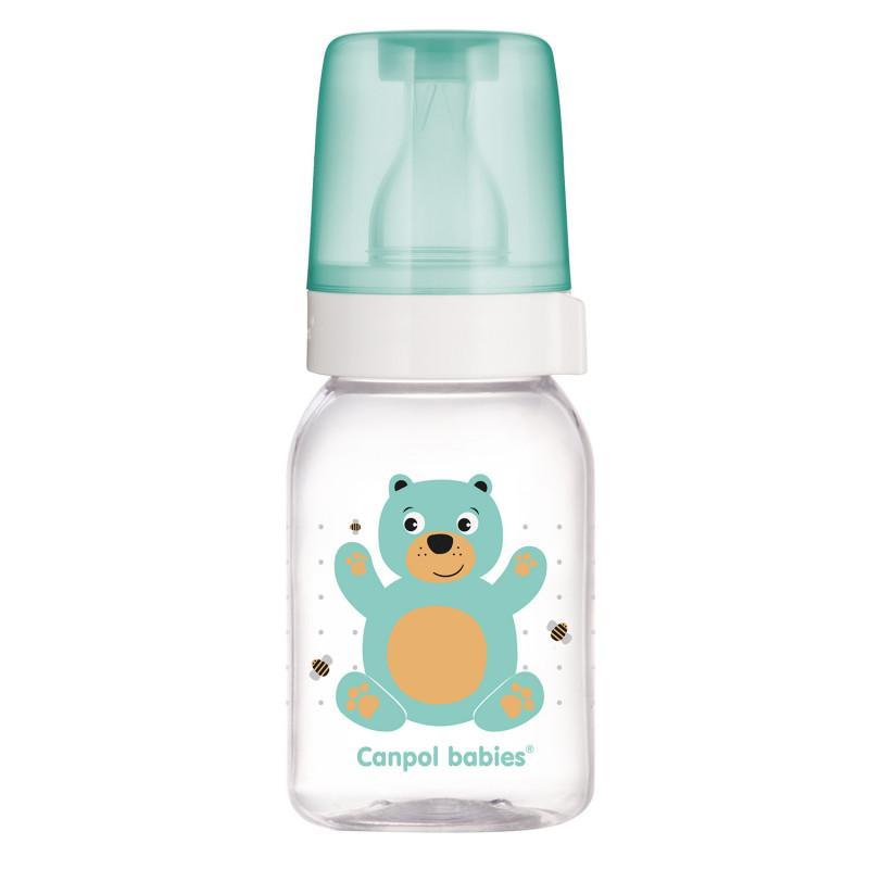 CANPOL BABIES Fľaša s potlačou CUTE ANIMALS 120ml - zelená