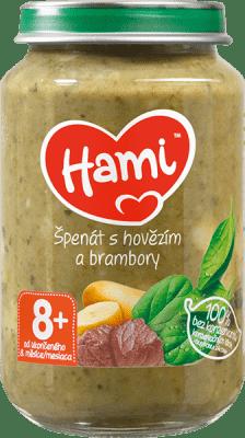 HAMI Príkrm mäsovo-zeleninový Špenát, zemiaky a hovädzie 200g