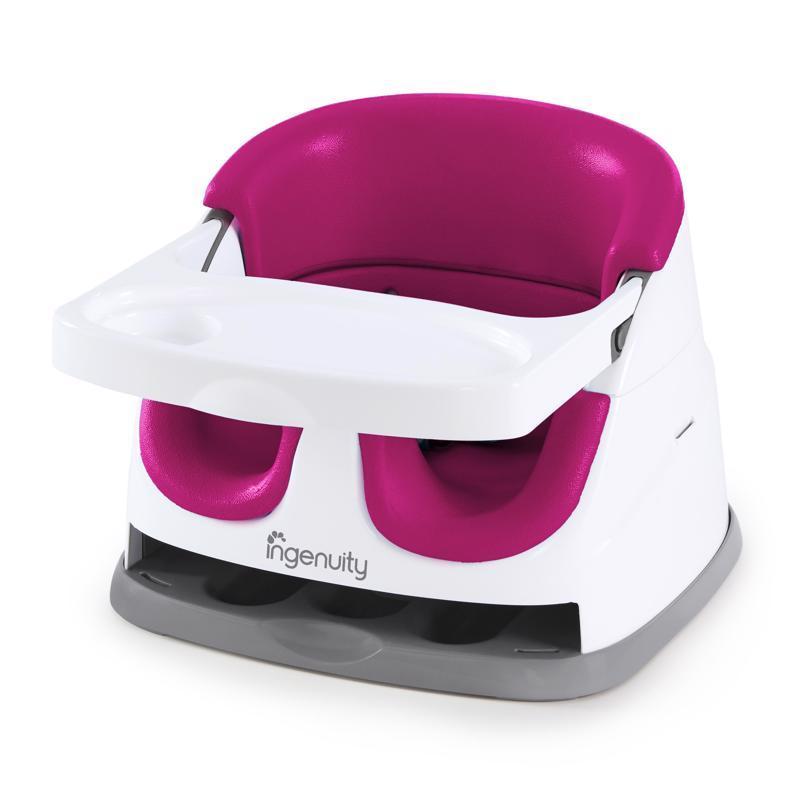 INGENUITY Podsedák na jedálenskú stoličku 2v1 Baby Base Pink Flambe 6m+, do 22kg