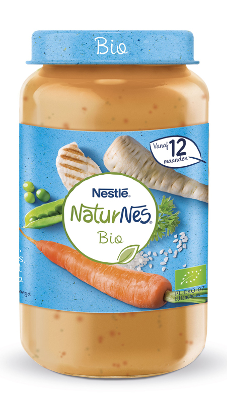 NESTLÉ NaturNes BIO Paštrnák, hrášok a mrkva s ryžou a kuracím mäsom 250 g