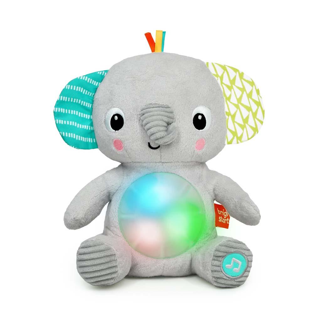 BRIGHT STARTS Hračka plyšová hudební svítící Hug-a-bye Baby ™ sloník 0m +