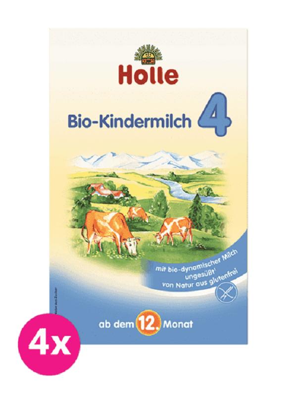 4x HOLLE Bio batoľacia mliečna dojčenská výživa 4 (600 g)