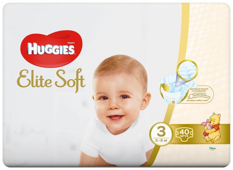 HUGGIES Jednorázové plienky Elite Soft veľ. 3, 40 ks
