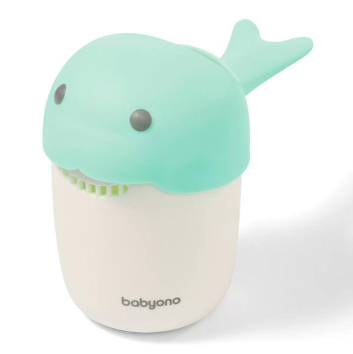 BABYONO Hrnček na kúpanie, umývanie hlavičky Whale - mint