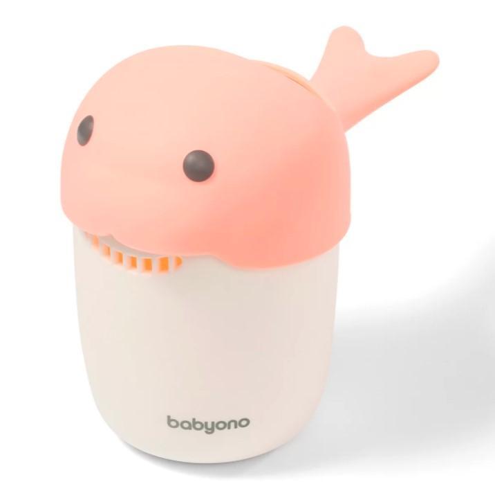 BABYONO Hrnček na kúpanie, umývanie hlavičky Whale - pink