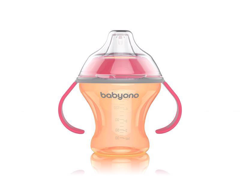 BABYONO Hrnček netečúci s mäkkým náustkom Natural Nursing 180 ml - oranžová