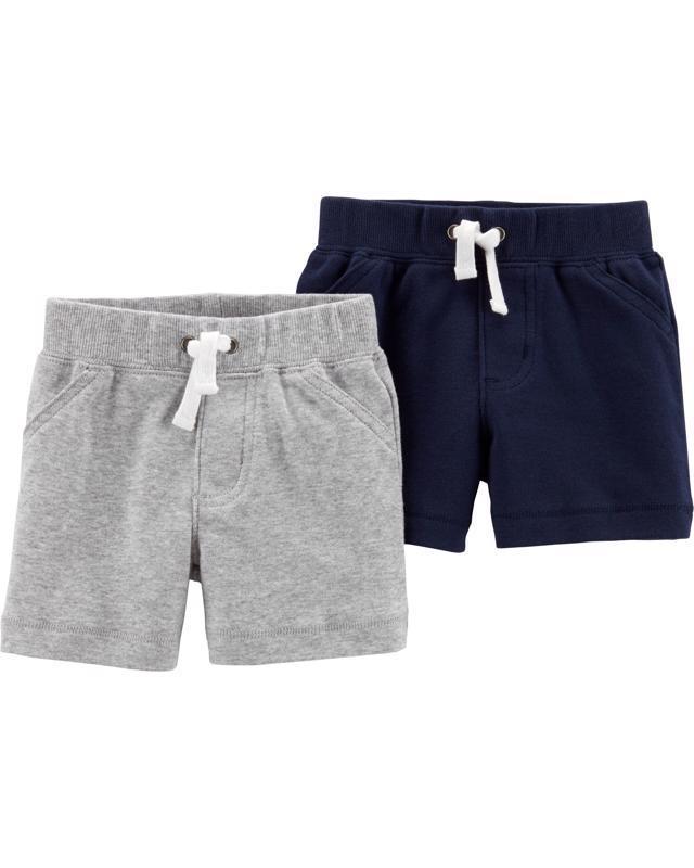 CARTER'S Nohavice krátke 2 ks, modrá/sivá - 3 m /veľ. 62