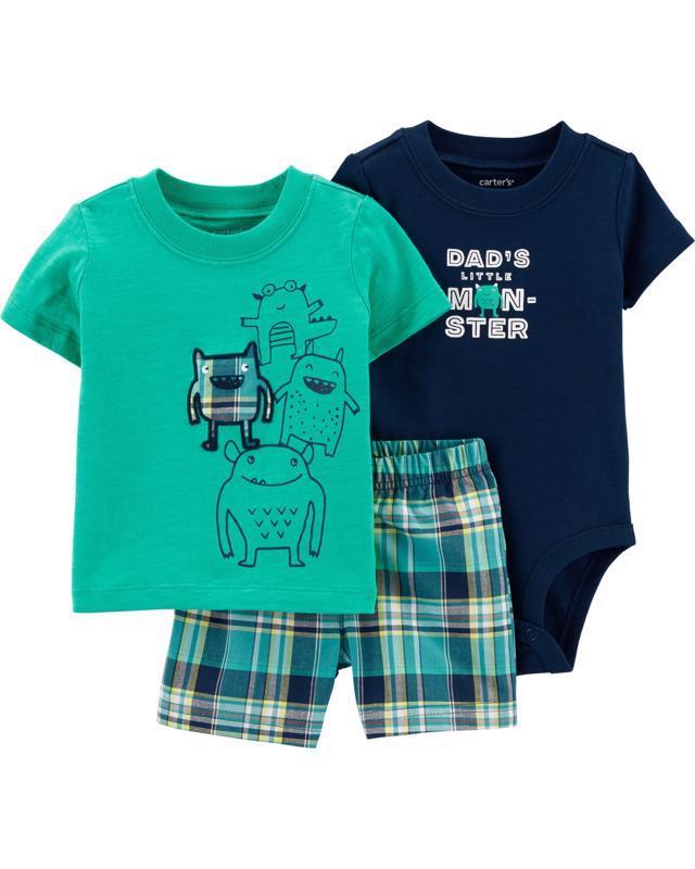 CARTER'S Set 3dielny body krátkyrukáv, tričko krátkyrukáv, nohavice krátke Monsters chlapec 6 m /veľ