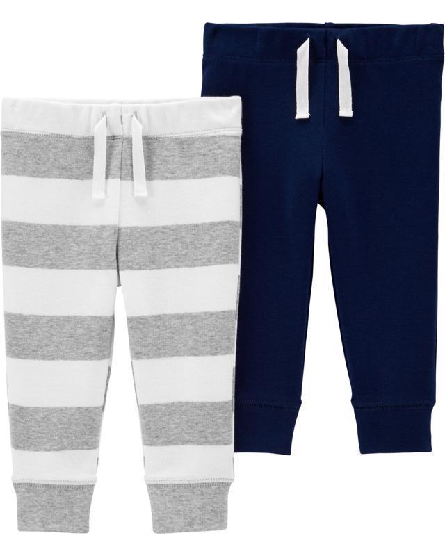 CARTER'S Nohavice dlhé modré, šedý pásik chlapec 2 ks, 3 m /veľ. 62, veľ. 62