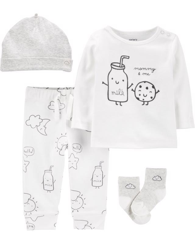 CARTER'S Set 4dielny tričko, nohavice, čiapka, ponožky Milk neutrál NB/ veľ. 56