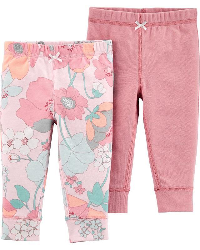 CARTER'S Nohavice dlhé Pink dievča LBB 2 ks NB/ veľ. 56