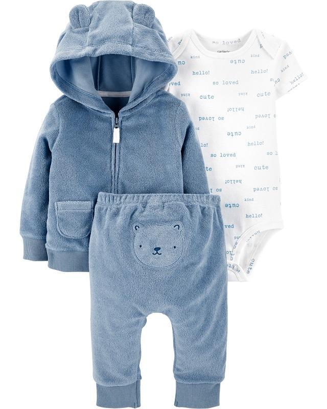 CARTER'S Set 3dielny body krátky rukáv, mikina, nohavice Bear Blue chlapec LBB 3 m /veľ. 62