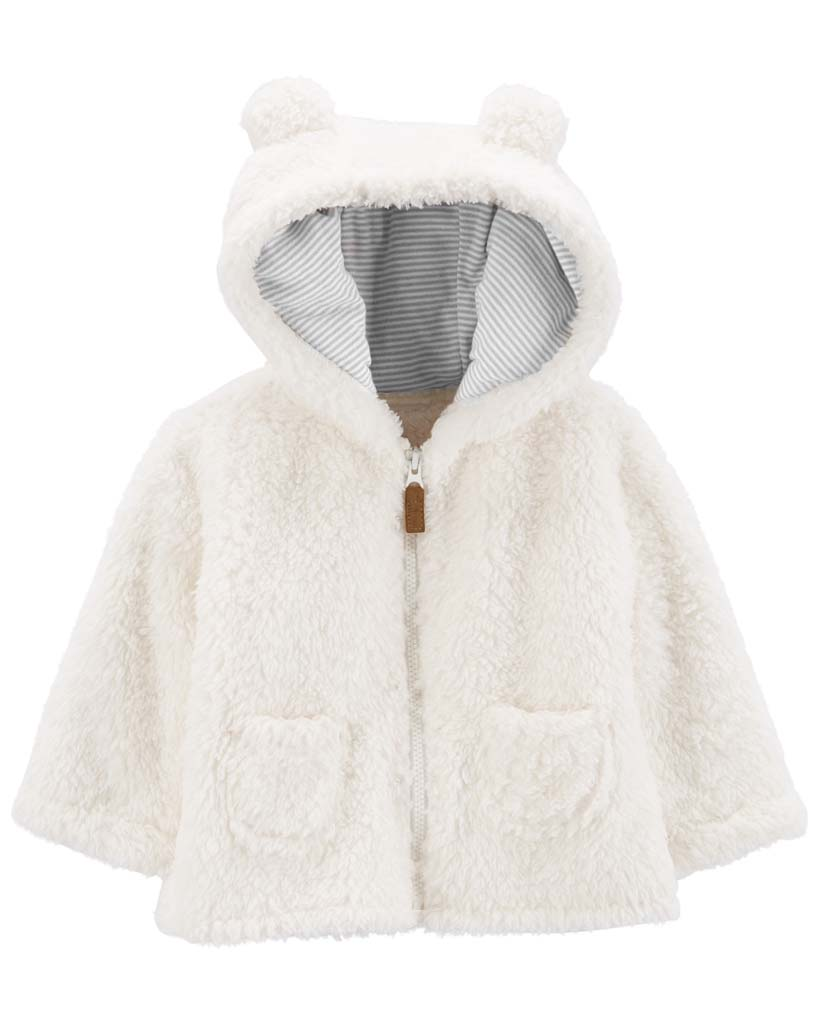 CARTER'S Kabátik na zips s kapucňou White Ears neutrál 3m