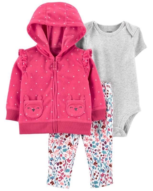 CARTER'S Set 3dielny body krátky rukáv, mikina, nohavice dlhé Pink Dot dievča 9 m /veľ. 74
