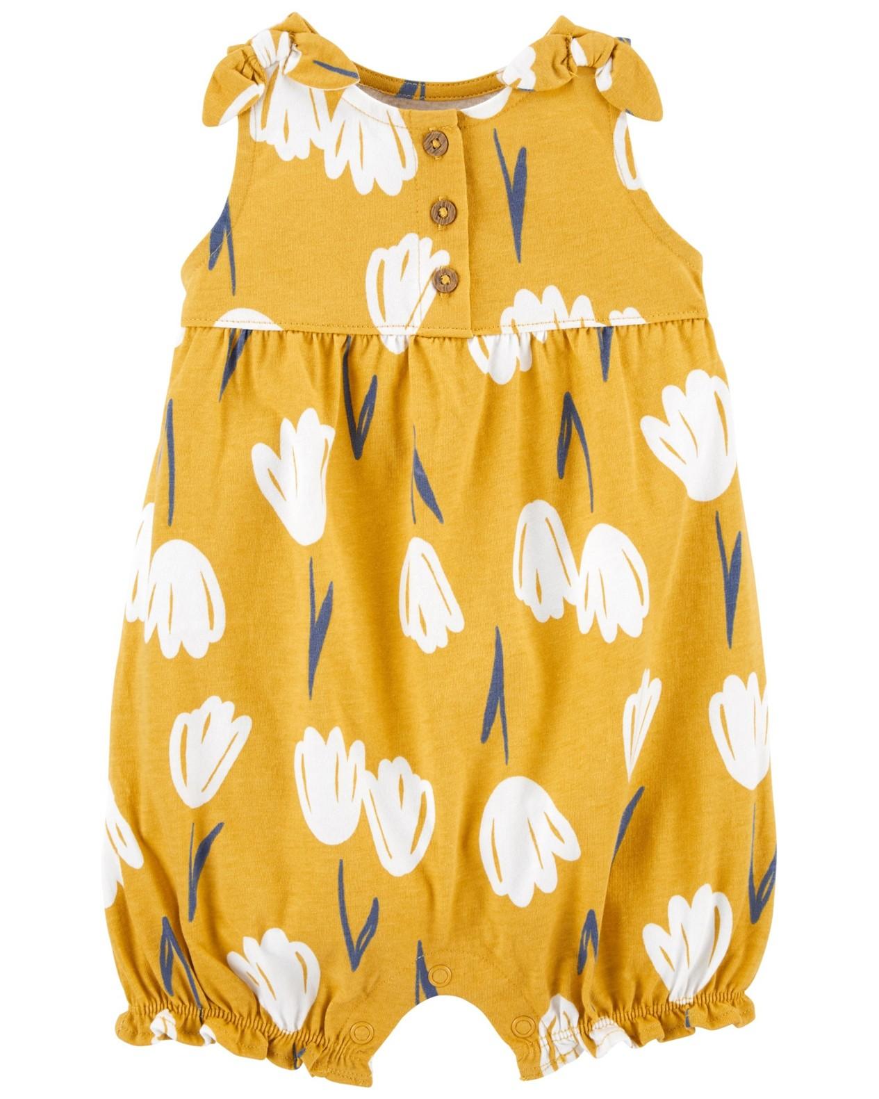 CARTER'S Overal bez rukávov Yellow Floral dievča 6 m, veľ. 68