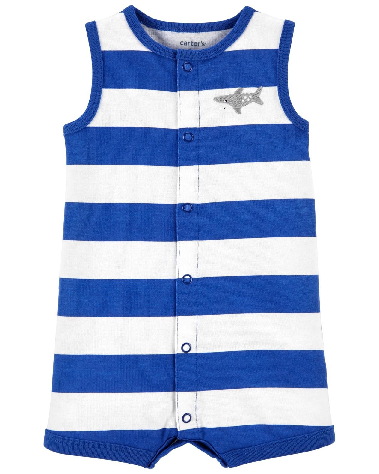 CARTER'S Opaľovačky Blue Stripe Shark chlapec 9 m, veľ. 74