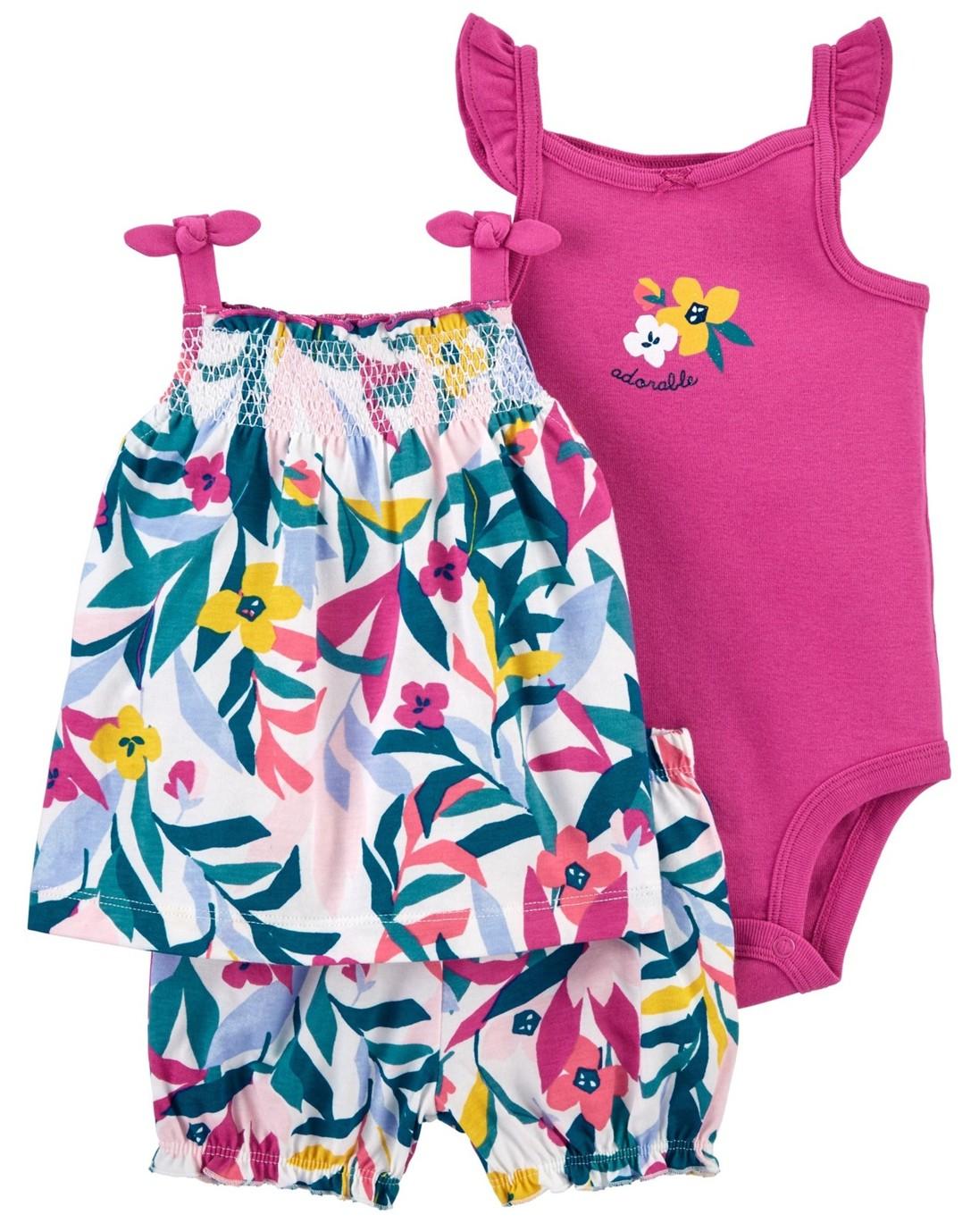 CARTER'S Set 3dielny body tielko, tunika, nohavice kr. Multi Floral dievča 12 m, veľ. 80