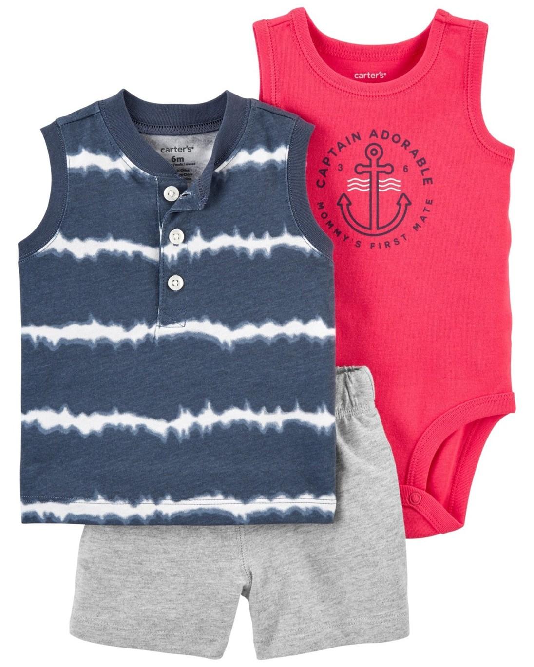 CARTER'S Set 3dielny body tielko, tričko bez rukávov, nohavice kr. Blue Tie chlapec 12 m, veľ. 80