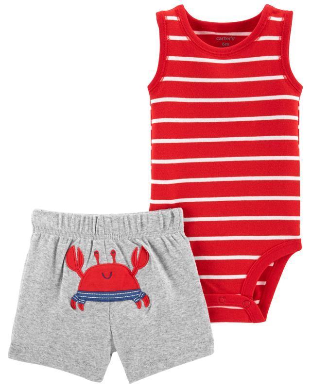 CARTER'S Set 2dielny body tielko, nohavice kr. Red Stripe Crab chlapec 12 m, vel. 80