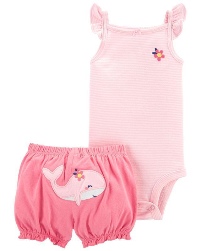 CARTER'S Set 2dielny body tielko, nohavice kr. Pink Whale dievča 12 m, vel. 80